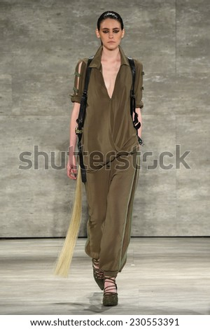 NEW YORK, NY - SEPTEMBER 04: A Model walks the runway at Nicholas K during MBFW Spring 2015 at The Pavilion at Lincoln Center on September 4, 2014 in NYC. - stock photo