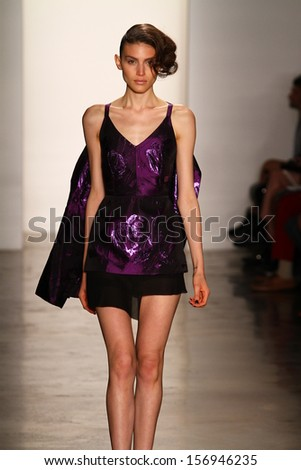 NEW YORK, NY - SEPTEMBER 07: A model walks the runway at the Alexandre Herchcovitch fashion show during MADE Fashion Week Spring 2014 at Milk Studios on September 7, 2013 in New York City.