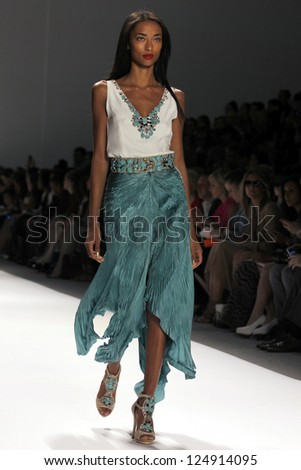 NEW YORK, NY - SEPTEMBER 10: A model walks the runway at the Carlos Miele  Spring Summer 2013 fashion show during Mercedes-Benz Fashion Week on September 10, 2012 in New York City, USA - stock photo