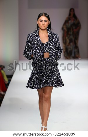 NEW YORK, NY - SEPTEMBER 11: A model walks the runway at the Esosa fashion show during Spring 2016 New York Fashion Week at Gotham Hall on September 11, 2015 in New York City.