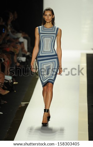 NEW YORK, NY - SEPTEMBER 07: A model walks the runway at the Herve Leger by Max Azria Spring 2014 fashion show during Mercedes-Benz Fashion Week at Lincoln Center in New York City on September 7, 2013 - stock photo