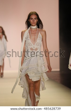 NEW YORK, NY - SEPTEMBER 10: A model walks the runway at the Jonathan Simkhai fashion show during New York Fashion Week on September 10, 2016 in New York City.