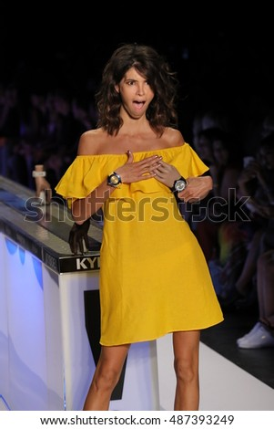 NEW YORK, NY - SEPTEMBER 10: A model walks the runway at the KYBOE! fashion show during New York Fashion Week on September 10, 2016 in New York City.