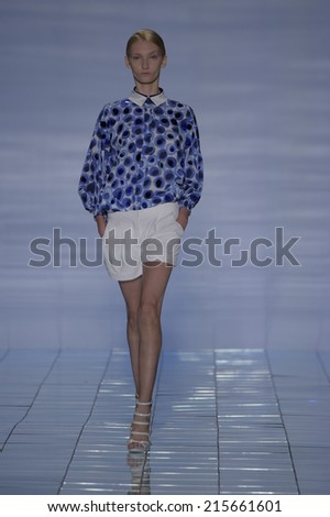 NEW YORK, NY - SEPTEMBER 06: A model walks the runway at the LIE SANGBONG Spring-Summer 2015 Collection during Mercedes-Benz Fashion Week Spring 2015 on September 6, 2014 in New York City. - stock photo