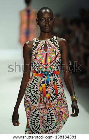 NEW YORK, NY - SEPTEMBER 07: A model walks the runway at the Mara Hoffman fashion show during Mercedes-Benz Fashion Week Spring 2014 at Lincoln Center on September 7, 2013 in New York City. - stock photo