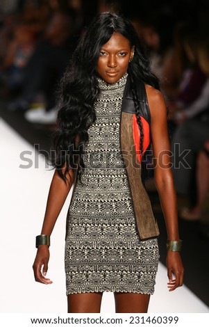 NEW YORK, NY - SEPTEMBER 05: A model walks the runway at the Project Runway (Amanda Valentine) show during MBFW Spring 2015 at Lincoln Center on September 5, 2014 in NYC - stock photo