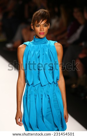 NEW YORK, NY - SEPTEMBER 05: A model walks the runway at the Project Runway (Char Glover)show during Mercedes-Benz Fashion Week Spring 2015 at Lincoln Center on September 5, 2014 in NYC - stock photo