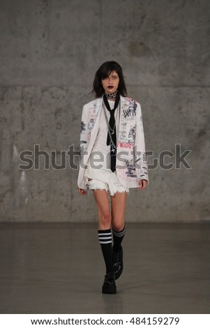 NEW YORK, NY - SEPTEMBER 07: A model walks the runway at the R13 Spring 2017 show at Skylite Modern during New York Fashion Week on September 7, 2016 in New York City.