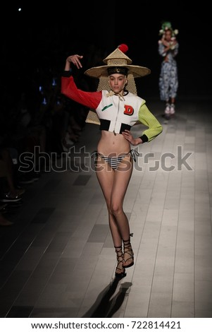 NEW YORK, NY - SEPTEMBER 07: A model walks the runway for Desigual fashion show during New York Fashion Week on September 7, 2017 in New York City.