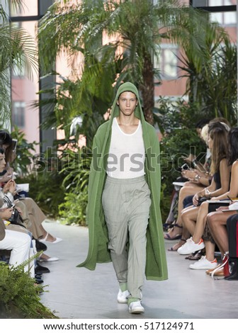 NEW YORK, NY - SEPTEMBER 10, 2016: Abiah Hostvedt walks the runway at the Lacoste Spring Summer 2017 fashion show during NY Fashion Week