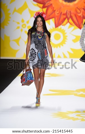 NEW YORK, NY - SEPTEMBER 04: Adriana Lima walks the runway at Desigual during Mercedes-Benz Fashion Week Spring 2015 on September 4, 2014 in New York City. - stock photo