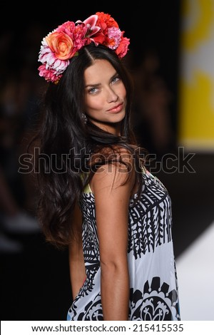 NEW YORK, NY - SEPTEMBER 04: Adriana Lima walks the runway at Desigual during Mercedes-Benz Fashion Week Spring 2015 on September 4, 2014 in New York City.