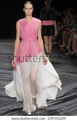 NEW YORK, NY - SEPTEMBER 11, 2014: Agne Konciute walks the runway at J Mendel fashion show during Mercedes-Benz Fashion Week Spring 2015 at The Theatre at Lincoln Center - stock photo