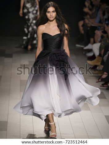 NEW YORK, NY - September 13, 2017: Aira Ferreira walks the runway at the Marchesa Spring Summer 2018 fashion show during New York Fashion Week