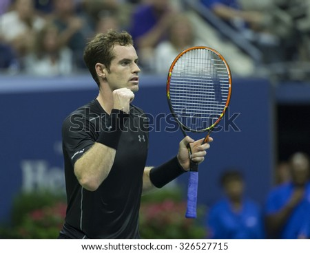New York, NY - September 1, 2015: Andy Murray of Great Britain reacts during 1st round match against Nick Kyrgios of Australia at US Open Championship - stock photo