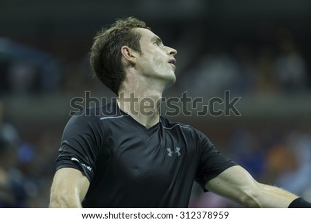New York, NY - September 1, 2015: Andy Murray of Great Britain serves ball during 1st round match against Nick Kyrgios of Australia at US Open Championship