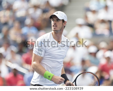 NEW YORK, NY - SEPTEMBER 1, 2014: Andy Murray of United Kingdom reacts during 4th round match against Jo-Wilfried Tsonga at US Open in Flushing Meadows USTA Tennis Center - stock photo