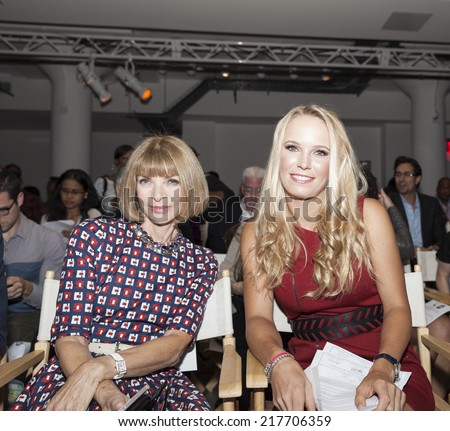 NEW YORK, NY - SEPTEMBER 9, 2014: Anna Wintour and Caroline Wozniacki attend the Serena Williams Signature Statement by HSN fashion show during Style360 Spring/Summer 2015 at Metropolitan West  - stock photo