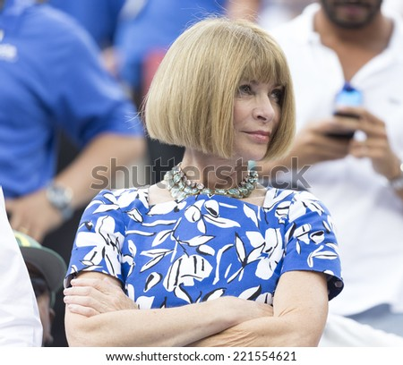 NEW YORK, NY - SEPTEMBER 6, 2014: Anna Wintour attends semifinal match Marin Cilic of Croatia & Roger Federer of Switzerland at US Open championship in Flushing Meadows USTA Tennis Center - stock photo