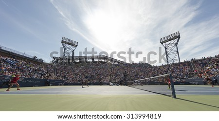 New York, NY - September 6, 2015: Atmosphere on Louis Armstrong stadium during 3rd round match between Martina Hingis, Sania Mirza and Michaella Krajicek, Barbora Strycova at US Open Championship - stock photo