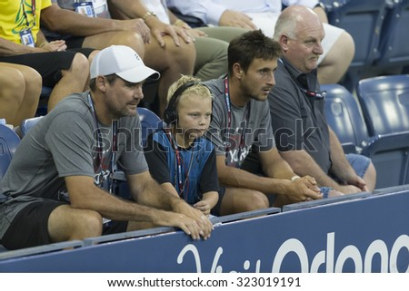 New York, NY - September 3, 2015: Cruz Lleyton Hewitt attends 2nd round match between Lleyton Hewitt of Australia & Bernard Tomic of Australia at US Open championship - stock photo