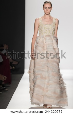 New York, NY - September 8, 2014: Estella Brons walks the runway at Dennis Basso show during Mercedes-Benz Fashion Week Spring 2015 at The Theatre at Lincoln Center
