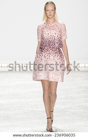 New York, NY - September 5, 2014: Frances Coombe walks the runway at Monique Lhuillier show during Mercedes-Benz Fashion Week Spring 2015 at The Theatre at Lincoln Center - stock photo