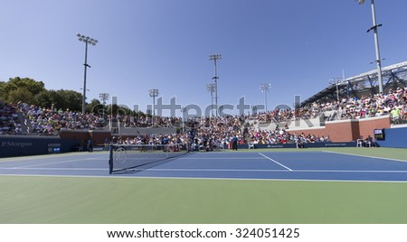 New York, NY - September 5, 2015: General atmosphere on the court 17 of USTA Billie Jean King Tennis Center at US Open Championship - stock photo