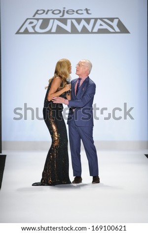 NEW YORK, NY - SEPTEMBER 06: Heidi Klum and Tim Gunn greet the audience at the Project Runway show during Spring 2014 Mercedes-Benz Fashion Week on September 6, 2013 in New York City. - stock photo