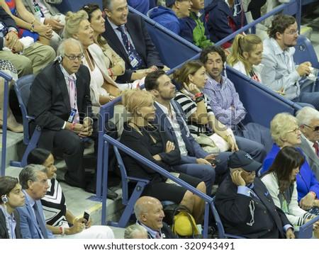 New York, NY - September 13, 2015: Hugh Jackman & Deborra-Lee Furness attend final of US Open Championship between Novak Djokovic of Serbia & Roger Federer of Switzerland during at Ash stadium - stock photo