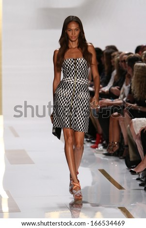 NEW YORK, NY - SEPTEMBER 08: Joan Small walks the runway during the Diane Von Furstenberg fashion show at Lincoln Center on September 8, 2013 in New York City. - stock photo