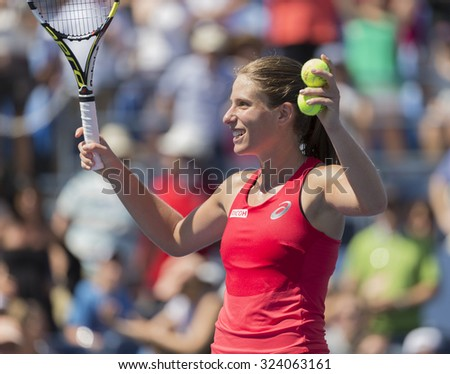 New York, NY - September 5, 2015: Johanna Konta of Great Britain reacts during 3rd round match against Andrea Petkovic of Germany at US Open Championship - stock photo