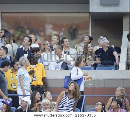 NEW YORK, NY - SEPTEMBER 7, 2014: John Leguizamo attends final of US Open championship between Serena WIlliams of USA and Caroline Wozniacki of Denmark at Flushing Meadows USTA Tennis Center - stock photo