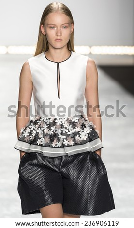 New York, NY - September 5, 2014: Katya Riabinkina walks the runway at Monique Lhuillier show during Mercedes-Benz Fashion Week Spring 2015 at The Theatre at Lincoln Center - stock photo