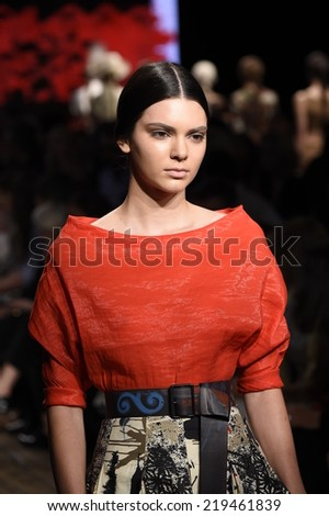 NEW YORK, NY - SEPTEMBER 08: Kendall Jenner walks the runway at Donna Karan New York during Mercedes-Benz Fashion Week Spring 2015 on September 8, 2014 in New York City. - stock photo