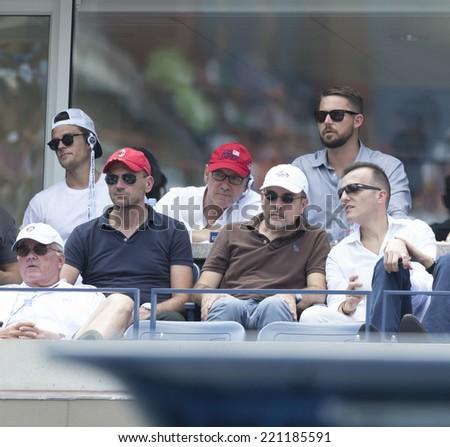 NEW YORK, NY - SEPTEMBER 6, 2014: Kevin Spacey attends semifinal match Novak Djokovic of Serbia & Kei Nishikori of Japan at US Open championship in Flushing Meadows USTA Tennis Center - stock photo