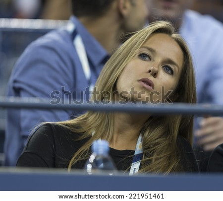 NEW YORK, NY - SEPTEMBER 3, 2014: Kim Sears attends quarterfinal match between Andy Murray of United Kingdom & Novak Djokovic of Serbia at US Open championship in Flushing Meadows USTA Tennis Center - stock photo