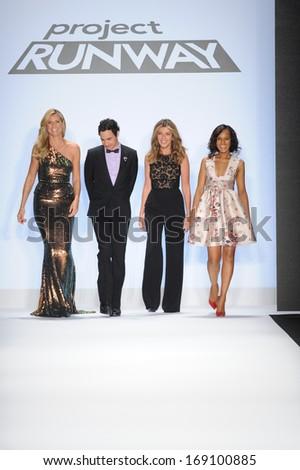 NEW YORK, NY - SEPTEMBER 06: (L-R) Heidi Klum, Zac Posen, Nina Garcia, Kerry Washington walk the runway at the Project Runway during Spring 2014 Mercedes-Benz Fashion Week on September 6, 2013 in NYC. - stock photo