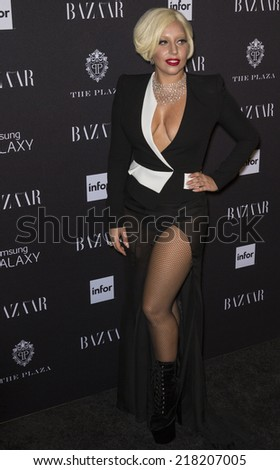 NEW YORK, NY - SEPTEMBER 05 2014: Lady Gaga attends the Harper's Bazaar ICONS Celebration at The Plaza Hotel - stock photo