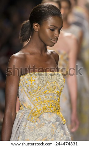 New York, NY - September 8, 2014: Leomie Anderson walks the runway at Dennis Basso show during Mercedes-Benz Fashion Week Spring 2015 at The Theatre at Lincoln Center - stock photo