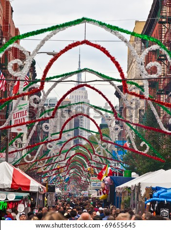 NEW YORK, NY - SEPTEMBER 26: Little Italy on Mulberry St. during the Feast Of San Gennaro on September 26, 2010 in New York City. New York City's longest-running religious outdoor festival. - stock photo