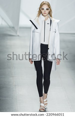 NEW YORK, NY - SEPTEMBER 6, 2014: Margarita Pugovka walks the runway at Lacoste Spring 2015 Collection at The Theater at Lincoln Center