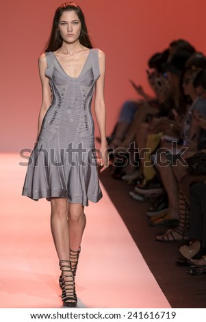 New York, NY - September 6, 2014: Mariana Coldebella walks the runway at Herve Leger show during Mercedes-Benz Fashion Week Spring 2015 at The Salon at Lincoln Center