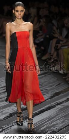 NEW YORK, NY - SEPTEMBER 11, 2014: Mariana Santana walks the runway at J Mendel fashion show during Mercedes-Benz Fashion Week Spring 2015 at The Theatre at Lincoln Center - stock photo