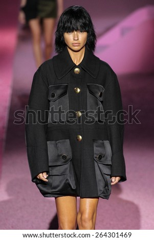 NEW YORK, NY - SEPTEMBER 11: Model Adriana Lima walk the runway at Marc Jacobs during Mercedes-Benz Fashion Week Spring 2015 at Seventh Regiment Armory on September 11, 2014 in NYC. - stock photo