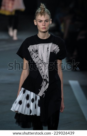 NEW YORK, NY - SEPTEMBER 09: Model Alexandra Elizabeth walks the runway at the Marc By Marc Jacobs fashion show during Mercedes-Benz Fashion Week Spring 2015 at Pier 94 on September 9, 2014 in NYC. - stock photo