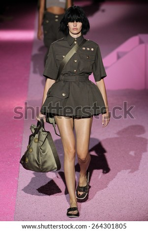 NEW YORK, NY - SEPTEMBER 11: Model Amanda Murphy walk the runway at Marc Jacobs during Mercedes-Benz Fashion Week Spring 2015 at Seventh Regiment Armory on September 11, 2014 in NYC. - stock photo