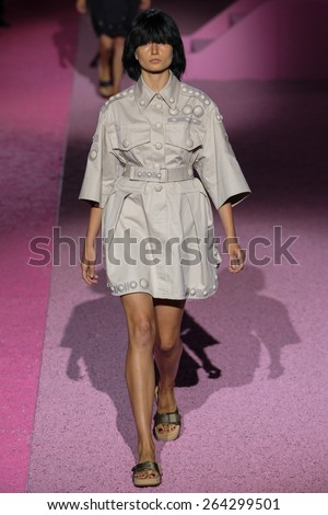 NEW YORK, NY - SEPTEMBER 11: Model Andreea Diaconu walk the runway at Marc Jacobs during Mercedes-Benz Fashion Week Spring 2015 at Seventh Regiment Armory on September 11, 2014 in NYC. - stock photo