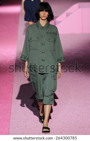 NEW YORK, NY - SEPTEMBER 11: Model Aymeline Valade walk the runway at Marc Jacobs during Mercedes-Benz Fashion Week Spring 2015 at Seventh Regiment Armory on September 11, 2014 in NYC. - stock photo