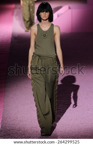 NEW YORK, NY - SEPTEMBER 11: Model Caroline Trentini walk the runway at Marc Jacobs during Mercedes-Benz Fashion Week Spring 2015 at Seventh Regiment Armory on September 11, 2014 in NYC. - stock photo